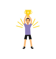 sport athletic teen boy on with trophy gold cup vector image
