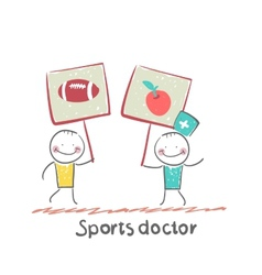 Sports doctor holds a banner with a painted apple vector image