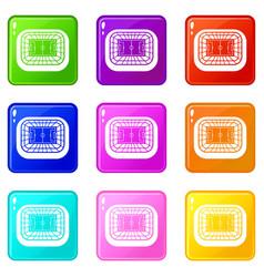 Stadium top view set 9 vector