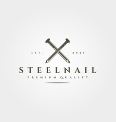 Steel nail isolated icon logo vintage symbol vector