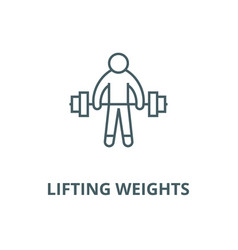 strong athlete lifting weights line icon vector image