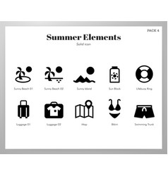 summer holiday elements solid pack vector image