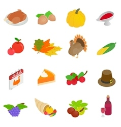 Thanksgiving day isometric 3d icons vector