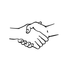 two human hands shaking symbol in sketch style vector image