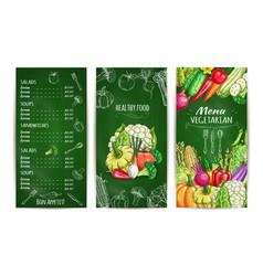 vegetarian restaurant menu template on chalkboard vector image vector image