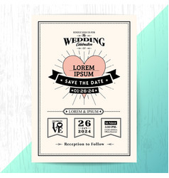 Vintage wedding invitation save the date card vector