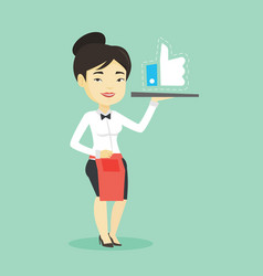 Waitress with like button vector