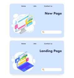 website landing page design template set vector image