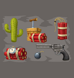 wild west collection on grey vector image