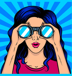 woman looks through binocular pop art vector image