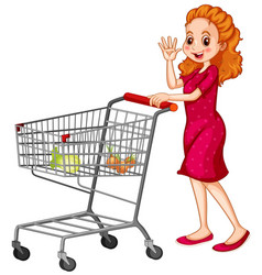 Woman pushing shopping cart on white background vector