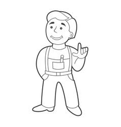Worker man in cartoon style outline vector