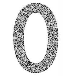 Zero digit collage of small circles vector