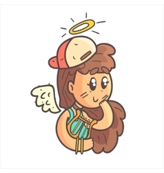 Angel Girl In Cap Choker And Blue Top Hand Drawn vector image