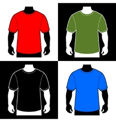 Blank Color T-shirt Men Body Silhouette vector image vector image