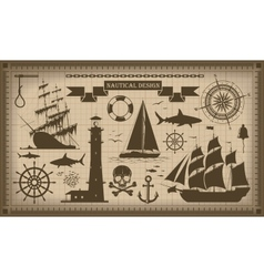 Set of nautical design elements EPS10 vector image vector image