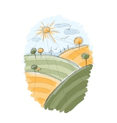 Autumn field sketch for your design vector image