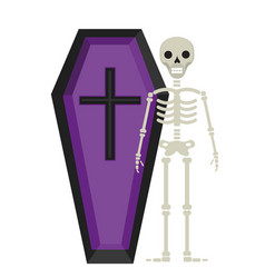 coffin and skeleton icon is a flat style isolated vector image vector image