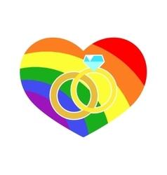 gay LGBT wedding rings rainbow heart vector image