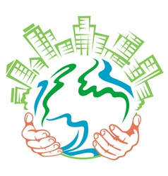 Pure earth in people hands vector image