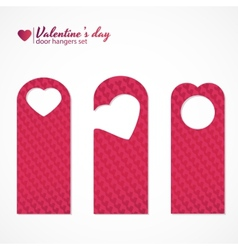 Set of three valentines day themed door hangers vector image vector image