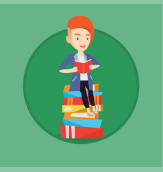 student sitting on huge pile of books vector image