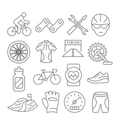 biking line icons vector image vector image