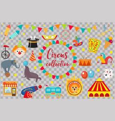 circus collection flat cartoon style set vector image