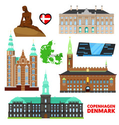 denmark copenhagen travel set with architecture vector image vector image