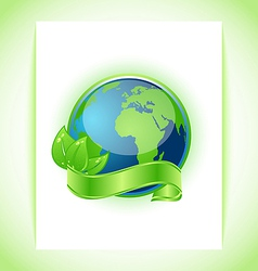 Green earth with leaves wrapped ribbon isolated vector image