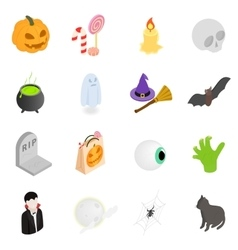 Halloween isometric 3d icons vector image vector image