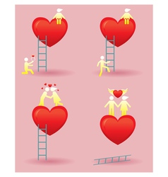 Human Symbol Love Story with Ladder vector image