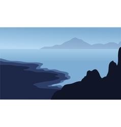 Silhouette of big rock in beach vector image vector image