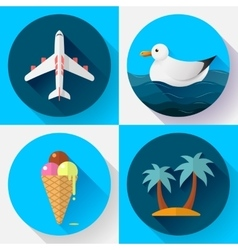 Travel and tourism icon set Flat designed style vector image