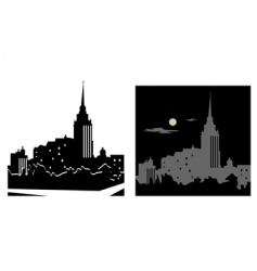 white and black cityscape vector image vector image