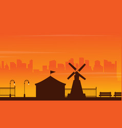 Beauty landscape amusement park silhouettes vector