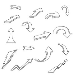 black arrows cartoon doodles vector image
