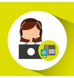 Call center operator girl contacts customers vector