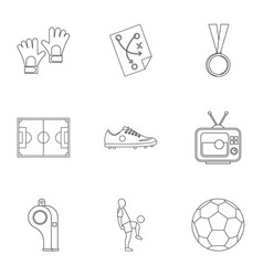 football things icons set outline style vector image