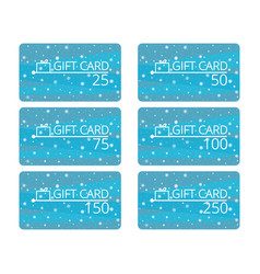 gift cards with snowflakes and gift box discount vector image