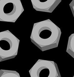 Iron Nuts on a black background seamless pattern vector image