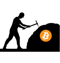 mining bitcoin concept - miner silhouette vector image vector image