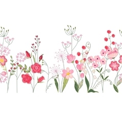 Seamless pattern brush with herbs roses and wild vector image