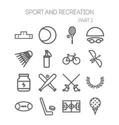 Set of simple icons for sport recreation web vector image vector image