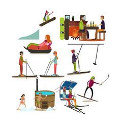 set of winter fun flat icons vector image