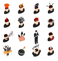 Stress icons in isometric 3d style vector image vector image