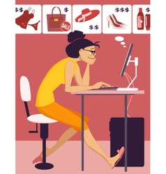 Woman shopping in an online store vector image vector image