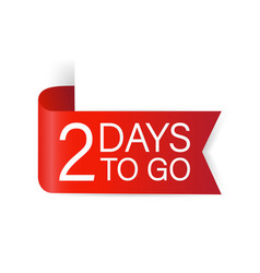 2 days to go red label red web ribbon isolated vector
