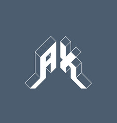 A and x - monogram or logotype isometric 3d font vector