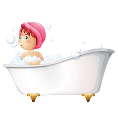 A young girl taking a bath vector image